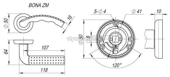 Ручка Fuaro ZM Bona SN/NP-3 Матовый никель/хром