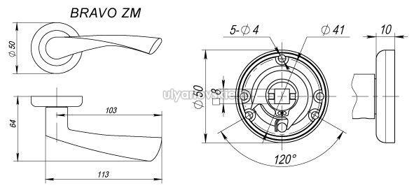 Ручка Fuaro ZM Bravo AB/SG-6 Бронза/золото