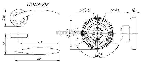 Ручка Fuaro ZM Dona SN/NP-3 Матовый никель/хром