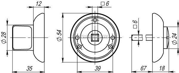 Фиксатор Armadillo WC-BOLT BK6-1SG/GP-4 матовое золото/золото