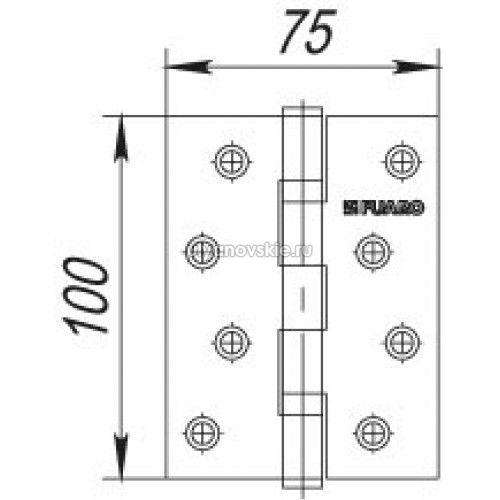 Петля Fuaro 4ВВ 100х75 хром