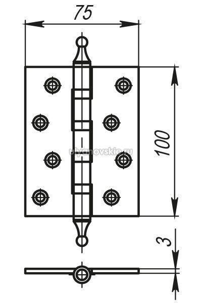 Петля Armadillo 500-A4 100x75x3 AS Античное серебро