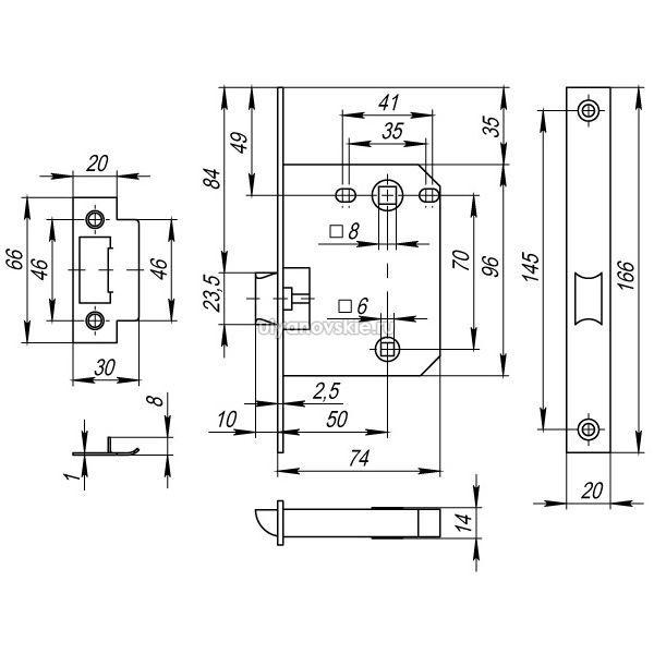 Защелка Fuaro PLASTIC P72-50 хром