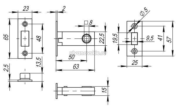 Защелка Fuaro MAGNET M12-50-25 AB бронза