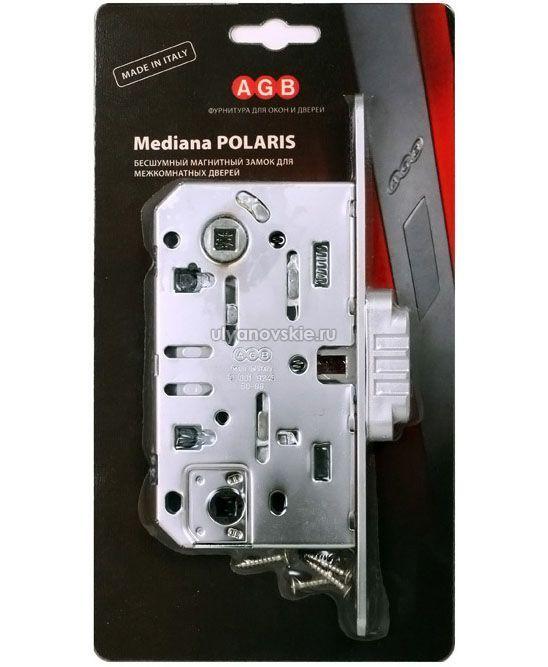 Защелка магнитная с ответкой AGB WC MEDIANA Polaris матовый хром