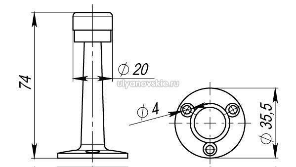 Упор дверной Armadillo DH033ZA SN Матовый никель
